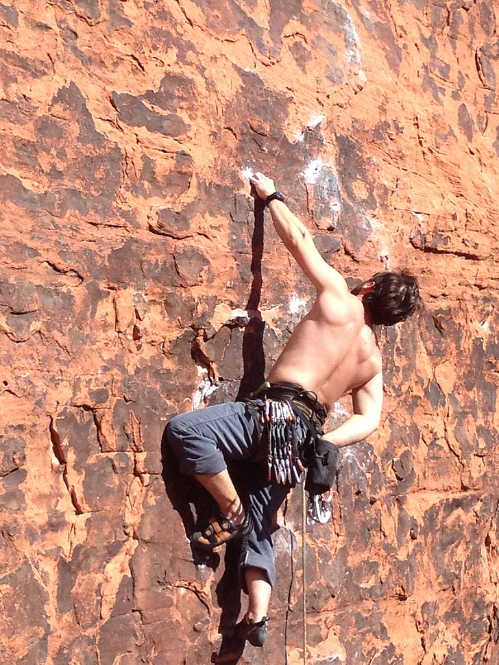 Roca, pujar, home, muntanya, esport, extrem, escalada