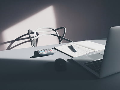 silver, macbook, white, office, table, home, laptop