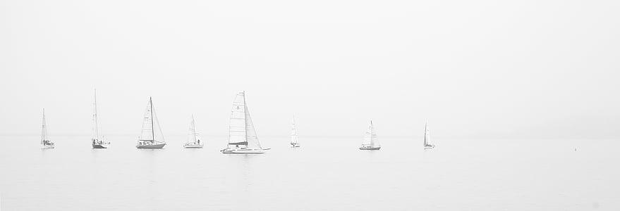 sortidas, em miniatura, naves, oceano, mar, desporto, Veleiros