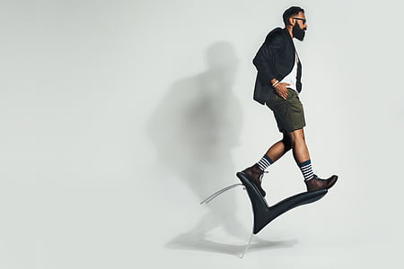 balancing, chair, fashion, man, model, person, full length
