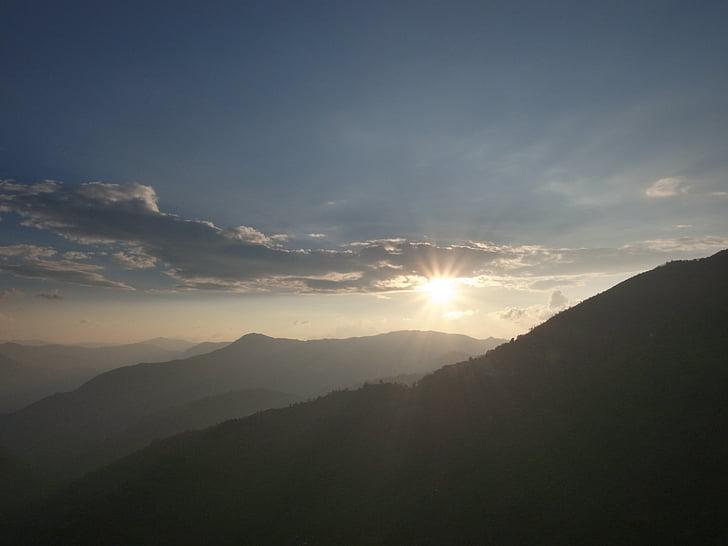 Kina, Oscars, Yuanyang, solnedgång, Mountain, naturen, landskap