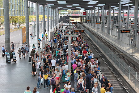 group of people, railway station, stop, crowds, wait, platform, transport