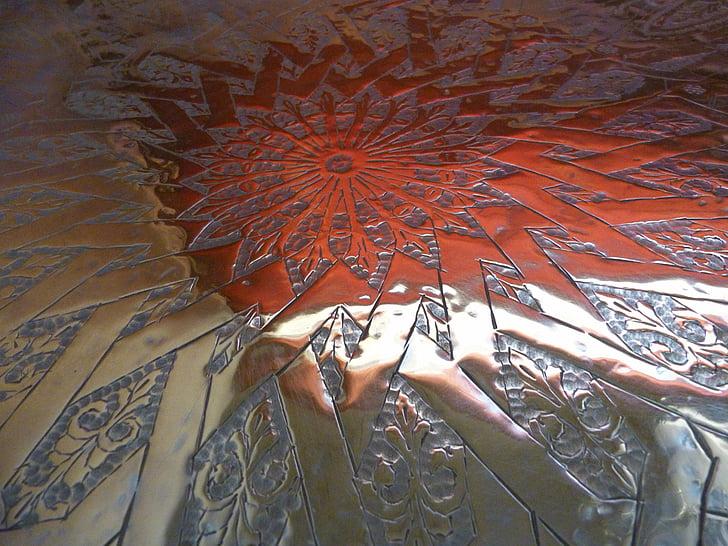 altiplà, coure, Marroc, Artesania, treball manual, reflexió, brillant