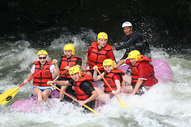 ràfting, aigües braves, repte, acció, equip, treball en equip, extrem
