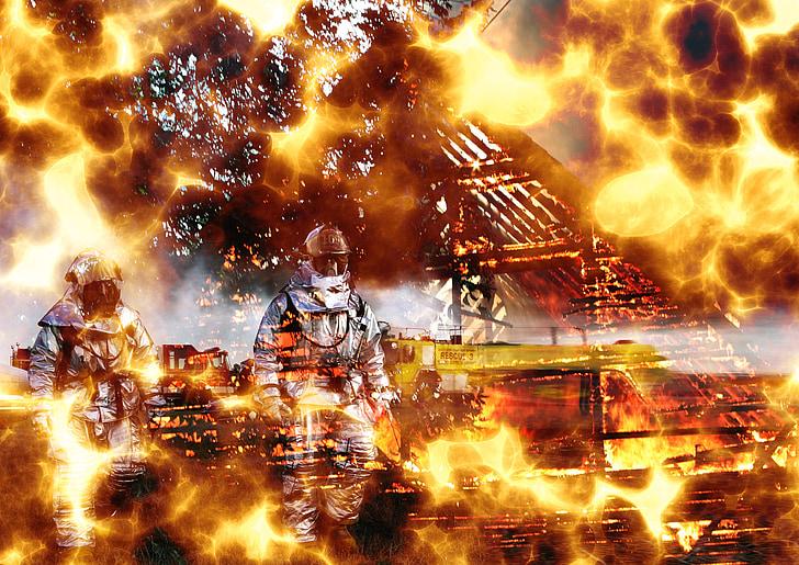 foc, explosió, lluita contra incendis, marca, llar de foc
