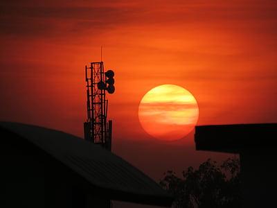 dawn, dusk, evening sun, sun, sunrise, sunset, tower