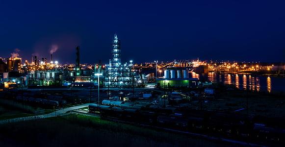 Port arthur, Texas, öö, õhtul, tööstus, rafineerimistehase, õli