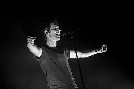 adult, black-and-white, concert, dark, entertainer, hands, man