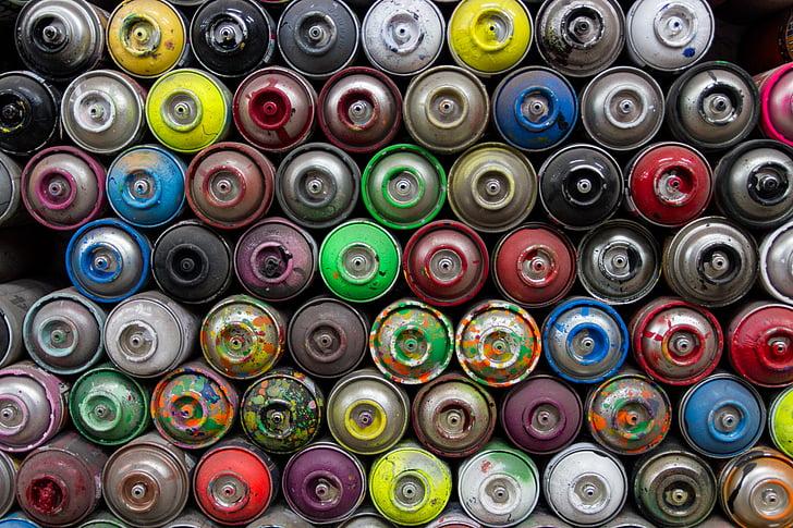 művészeti kellékek, kannák, színes, színes, halom, kanna, spray festék