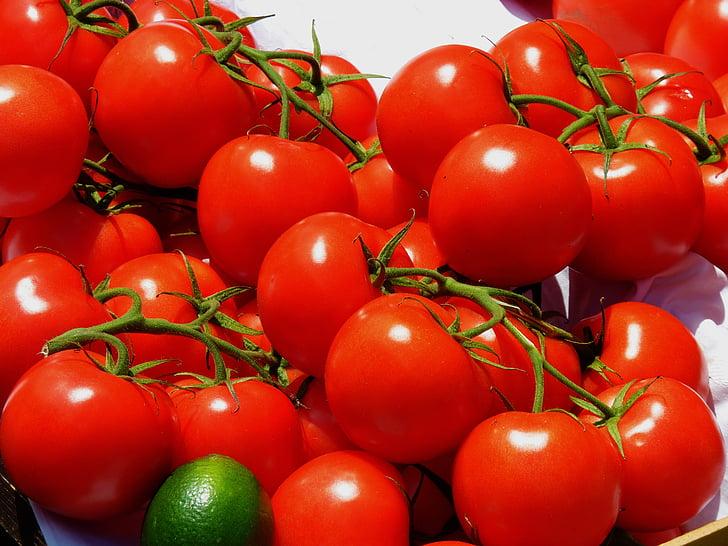 pomidorai, rinkos, daržovės, raudona, maisto, skanus, Maksas