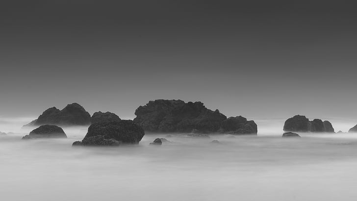 black-and-white, fog, rocks, sea