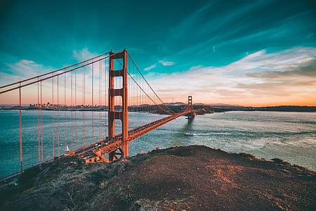 golden, gate, bridge, Golden Gate Bridge, architecture, San Francisco, sea