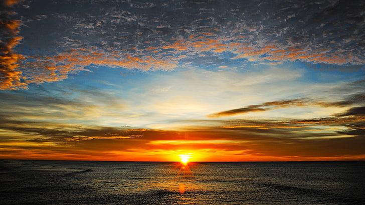 Hajnal, nap, békés, tenger, Horizon, ébredés, kimeneti nap