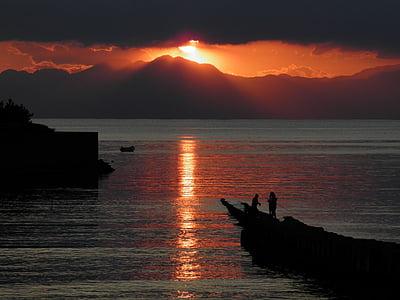 sunset, zushi, sun, sunrise, dawn