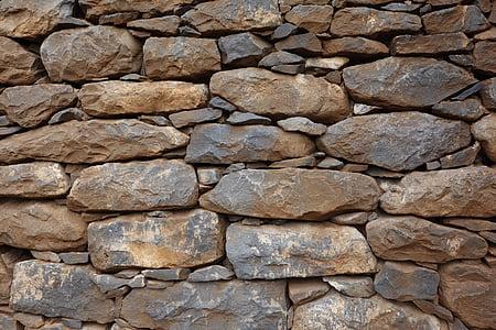 石头, 墙上, 纹理, 石头墙, 砖, 乡村, 建设