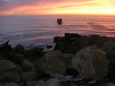 stranden, kusten, soluppgång, Dawn, havet, Ocean, vatten