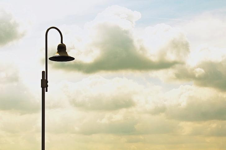 lantern, clouds, sky, street lamp, lamp, light, blue