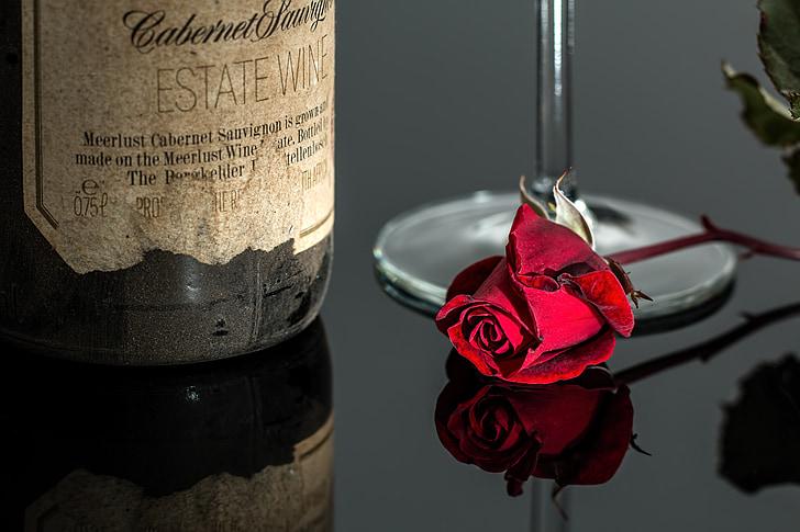 Rosa, vi, vermell, romàntic, ampolla, beguda, vidre