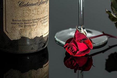 rosa, vino, rosso, romantica, bottiglia, bere, vetro