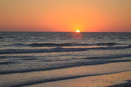 posta de sol, platja, cel, vacances, l'aigua, Costa, horitzó