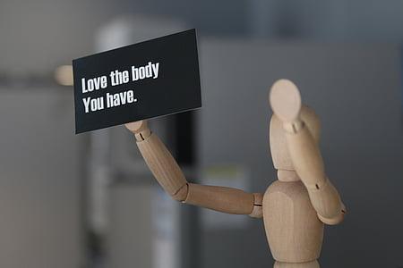 kokeshi, missatge, m'encanta el seu cos, persones, Maniquí