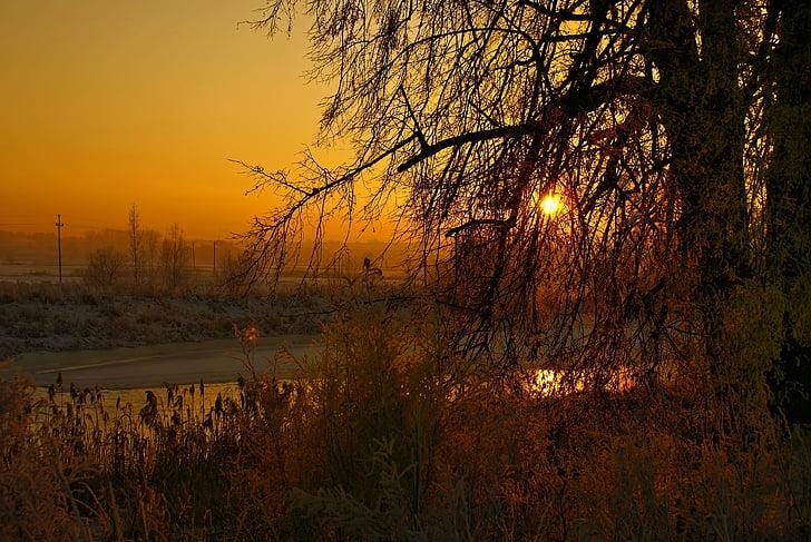 river, winter, sunset, landscape, frozen river, fairy-tale winter, podlasie