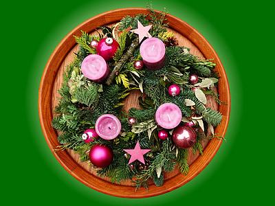 Advent pärg, Advent, jõulud, küünal, meditatiivne, roosa, Holly