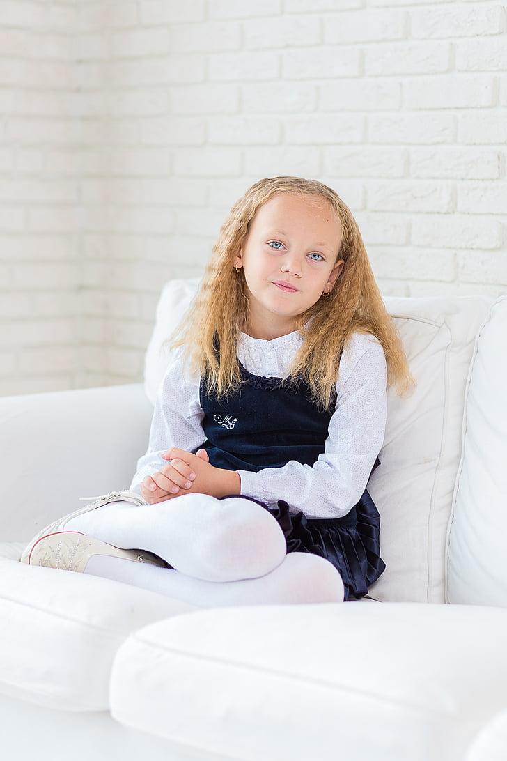 meisje, kind, jonge, vrij, kamer, wit, schattig
