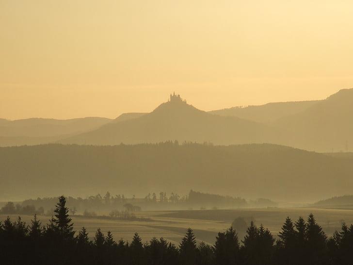 Hohencolernų, Švabijos alp, pilis, kraštovaizdžio, šviesos