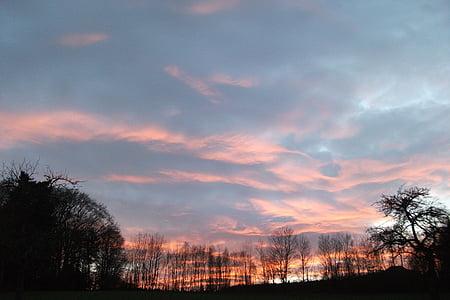 післясвічення, Захід сонця, вечірнє небо, abendstimmung, настрій, хмари