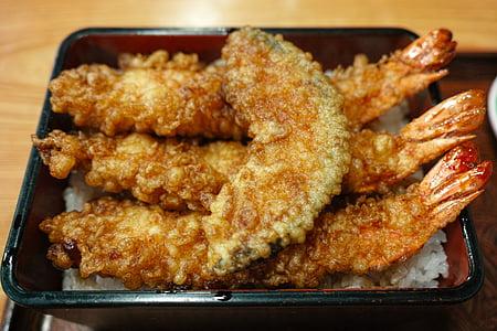 Restaurant, menjar japonès, aliments de Japó, aliments, tempura de, gambes