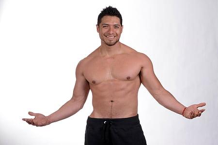 esport, gimnàs, exercici, abdominal, cos, atleta, home