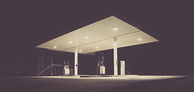 filling station, gas, gas station, gasoline station, night, architecture