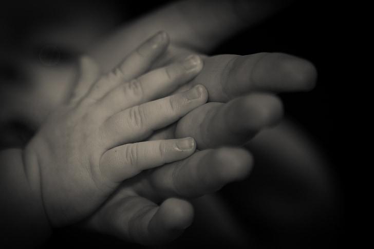 mão, mão de criança, confiança