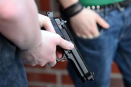 ifjúsági, fegyver, pisztoly, Beretta, kézi fegyvert, lő, lőszer