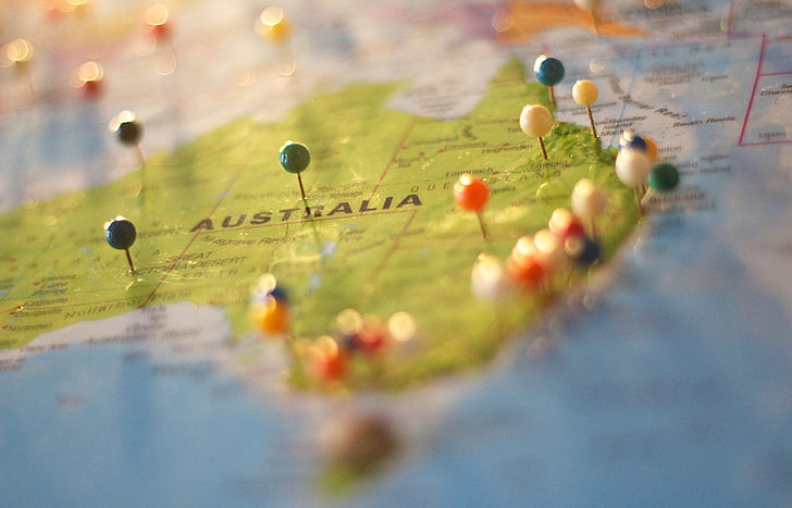 australia, destination, geography, locations, map, maps, pins
