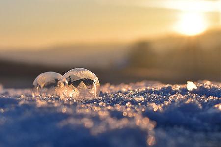 soap bubble, frozen, frozen bubble, eiskristalle, winter, cold, ball