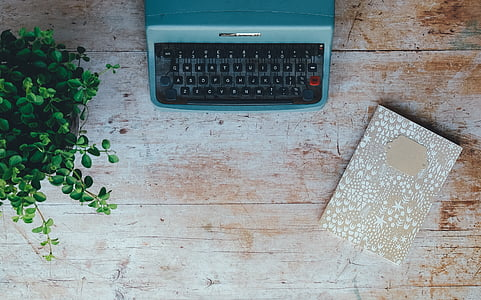 Vintage, máy đánh chữ, thực vật, cuốn sách, máy tính xách tay, Notepad, bảng top