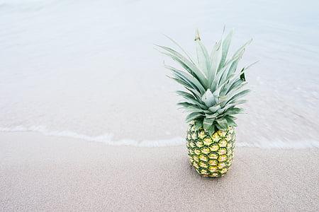 pineapple, fruit, beach, tropical, food, sand, fresh