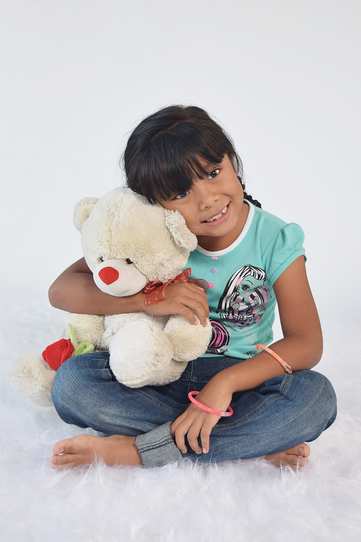 teddy, girl, child, take it easy