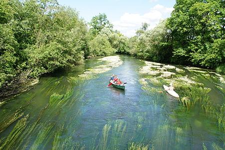 canoë-kayak, Tauber coulée, plus, rivière, eau, Loisirs, se détendre