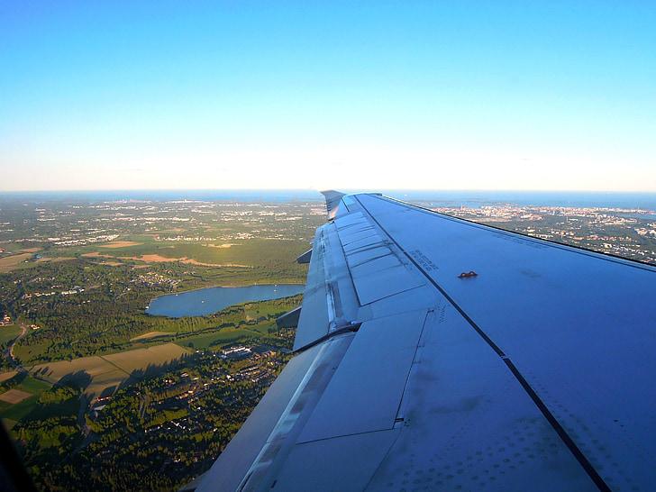 літак, крило, літати, Земля, вікно, Туристична, синій