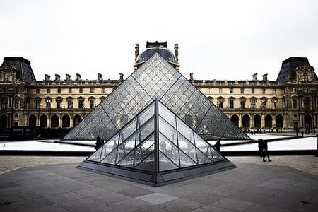 Muzeum umění, sklo, Louvre, Louvre muzeum umění, Paříž, lidé, Turisté