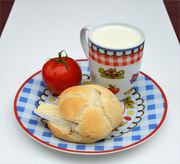 franču siers, maize, piens, Brokastis, pārtika, tomāti