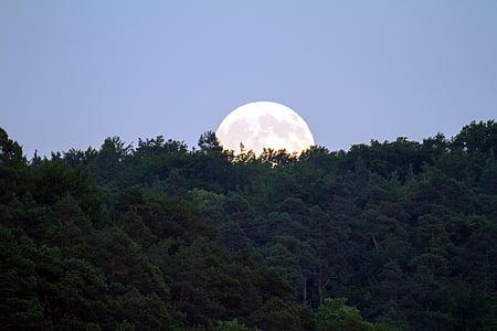 Lluna plena, cel de nit, llum de lluna, Lluna, estat d'ànim, cel de nit, abendstimmung