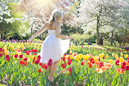 spring, tulips, pretty woman, young woman, flowers, springtime, female