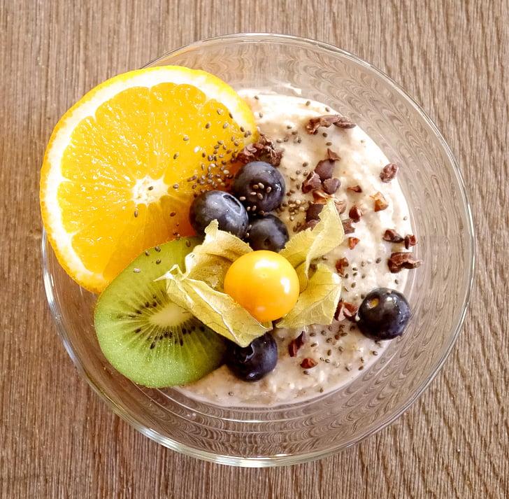 porridge, muesli, breakfast, vegan, oatmeal, chia, cocoa nibs