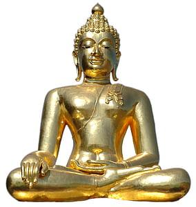 arany buddha, ül, elszigetelt, Buddha, szobor, buddhizmus, Ázsia