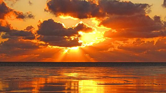 Северное море, Закат, Северная Фризия, дамба, пляж