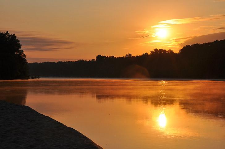 dawn, summer, river